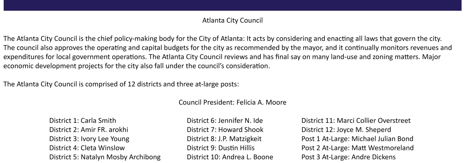 Atlanta City Council Boilerplate