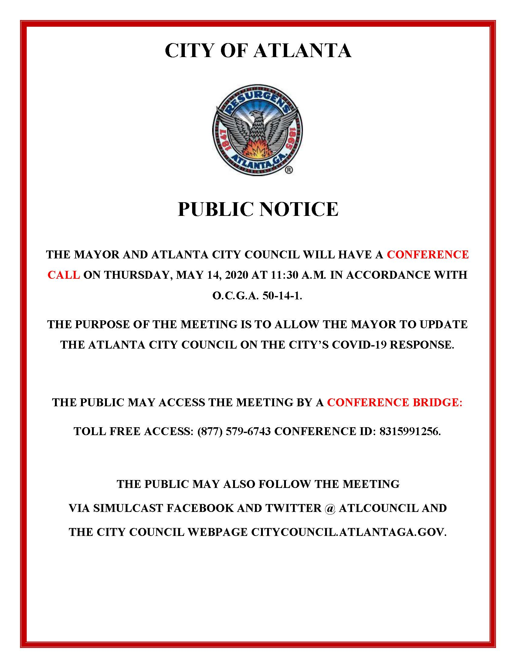 5.14.20 - Mayor Conference Call with ACC Public Notice 5.14.2020