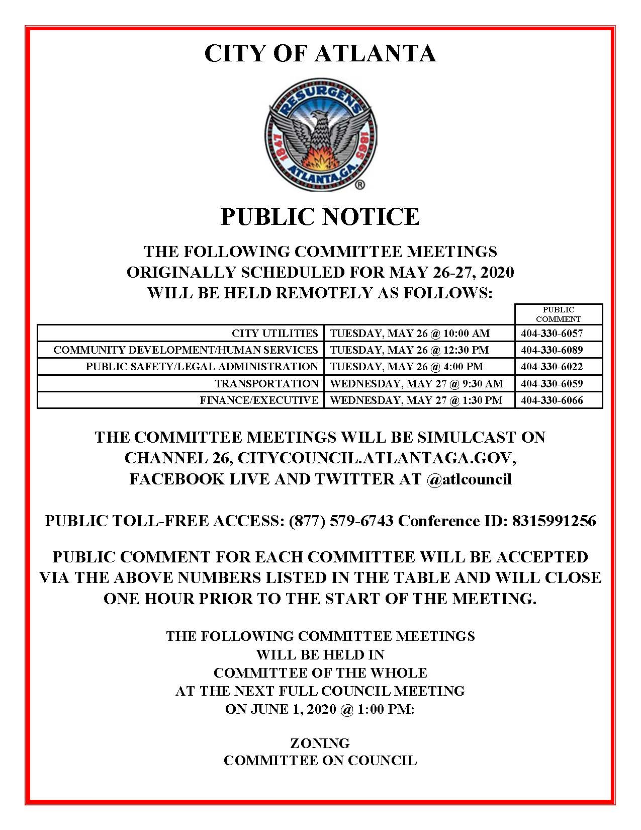 May 26-27 Committee Meetings Public Notice (Public)