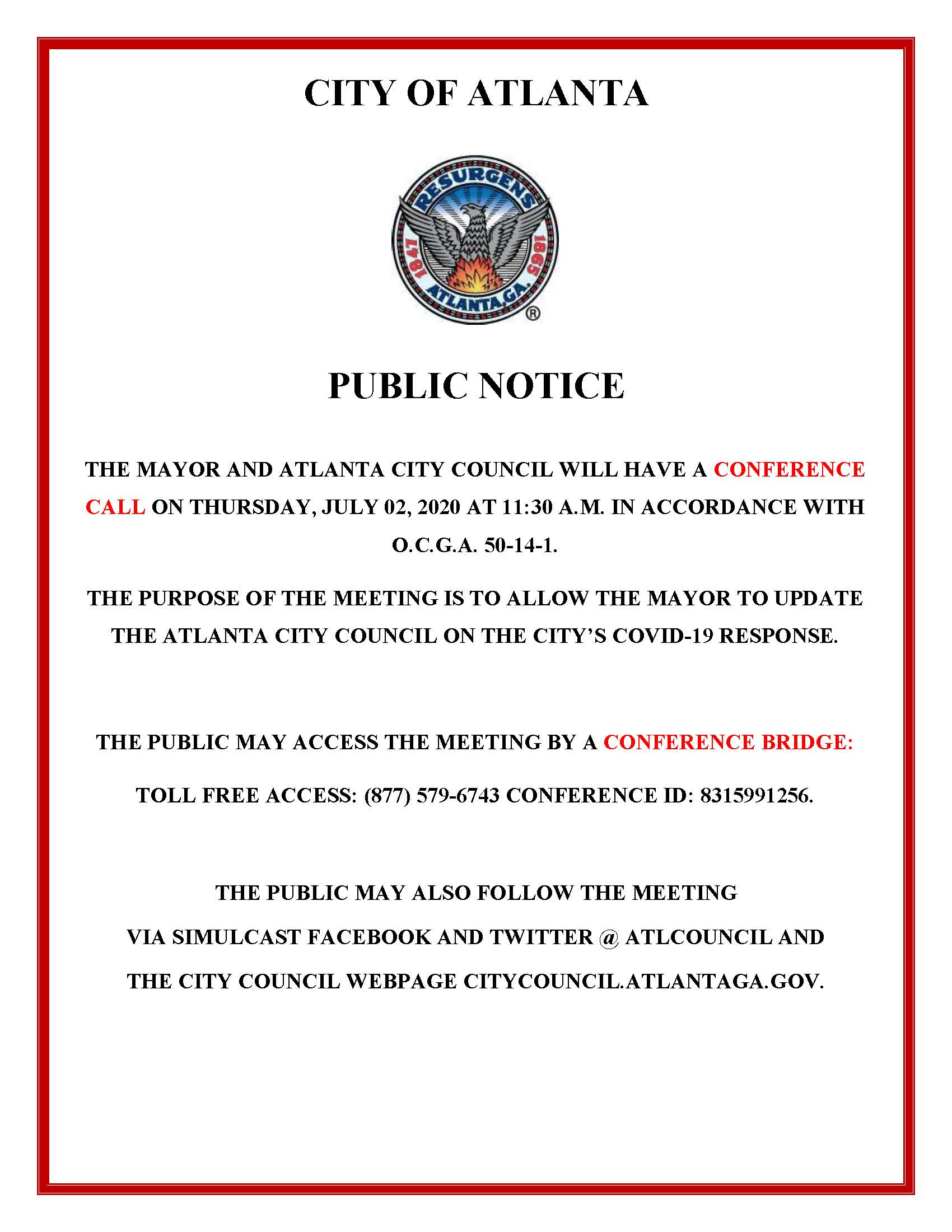 Mayor Conference Call with ACC Public Notice 7.02.2020