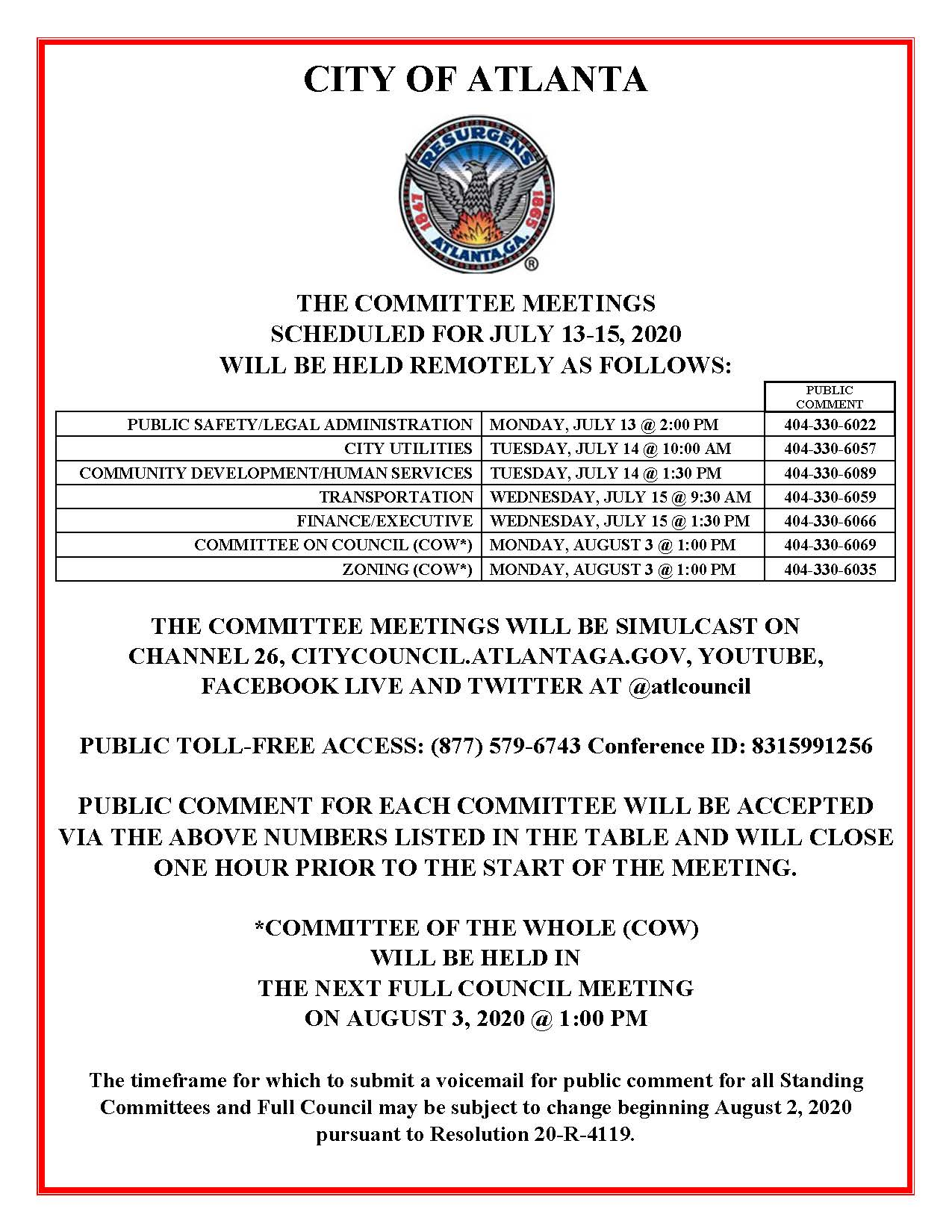 July 13-15 Committee Meetings Public Notice (Public) - REVISED